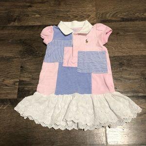Ralph Lauren Pink and Blue Patchwork Dress